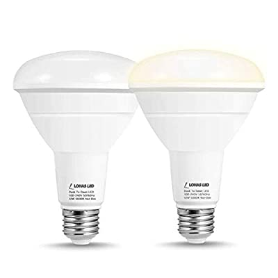 LOHAS Dusk-to-Dawn BR30 LED Bulb, 100W Equivalent(12W) Sensor Flood Light Bulb, Daylight White 1000 Lumens High Brightness Light Reflector Bulb, for Yard Porch Garage Garden Patio Lamp, 2 Pack