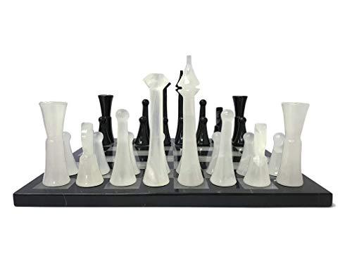 LUHOM LUJOSO HOGAR MEXICO Juego de ajedrez 44 cm x 44 cm de mármol Natural en Monterrey Negro y Blanco Bego