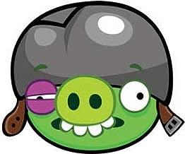 4 Inch Bad Piggies Green Helmet Pig Decal Angry Birds Removable Peel Self Stick Adhesive Vinyl Decoration Wall Sticker Art Kids Room Home Decor Girl Boy 4 x 3 1/2 Inch