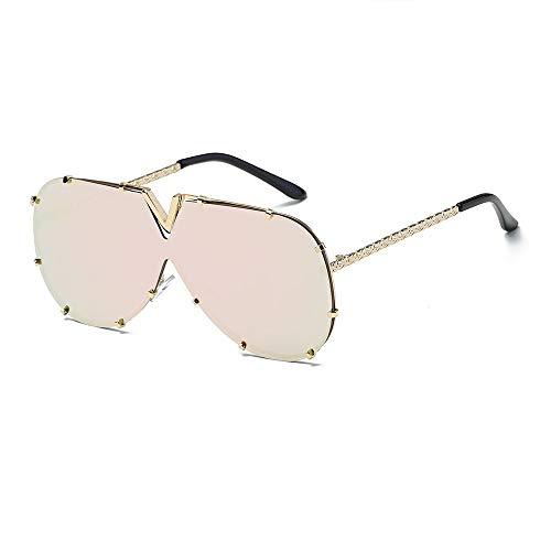 Gafas De Sol Para Caballeros Unisex One Piece Gafas de sol extragrandes Protección UV400 para ciclismo Pesca Conducción 6 colores Mens Gafas De Sol Polarizadas ( Color : Gold/pink , Size : Free size )