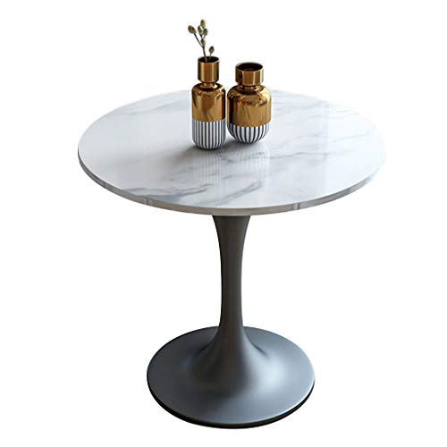 YLMF Iron Art Marmor Verhandlungstisch, Konferenztisch, Hochtemperatur-Backfarbenverfahren, Schmiedeeisenrahmen, für Büros, Cafés, Größe 60 x 60...