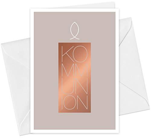 20 Karten & 20 Umschläge: Einladungskarten Kommunion Motiv Kerze Fisch A6 Klappkarten im Set, Kommunionskarten Einladungen mit Heißfolienprägung (Kupfer)