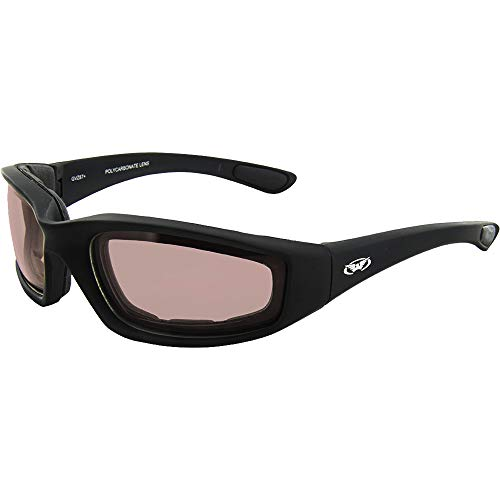 Global Vision il contraccolpo motorcycle glasses (black frame/guida specchio lens)