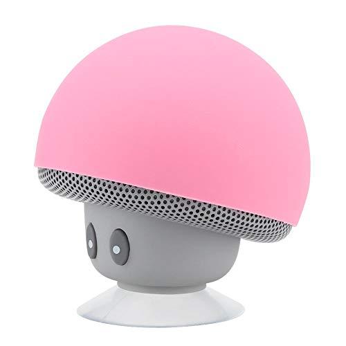Mushroom Speaker Bluetooth con Ventosa, Mini subwoofer inalámbrico, reducción de Ruido, Rosa
