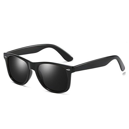 Rocf Rossini Vintage Gafas de Sol para Hombres Polarizadas Gafas Mujer Conducción Retro 100% Protección UV400 (Negro/gris)