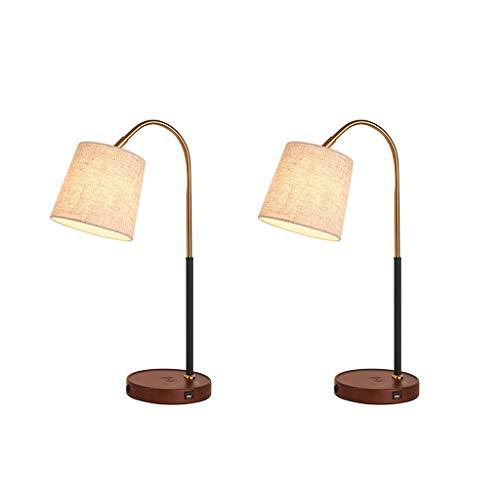 Lampara de Lectura Lámpara de mesa con tela de la cortina de lámpara de escritorio con puerto de carga USB metal lámpara de mesa lámpara de escritorio del dormitorio for estudiantes de lectura Lámpara