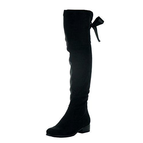 Angkorly - Zapatillas de Moda Botas Altas Cavalier Flexible Mujer Codones de Saten Talón Tacón Ancho Alto 3.5 CM - Plantilla Forrada de Piel - Negro H187 T 38