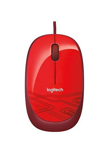 Logitech M105 Maus mit Kabel, 1000 DPI Optischer Sensor, USB-Anschluss, 3 Tasten, Für Links- und Rechtshänder, PC/Mac - Rot, Englische Verpackung