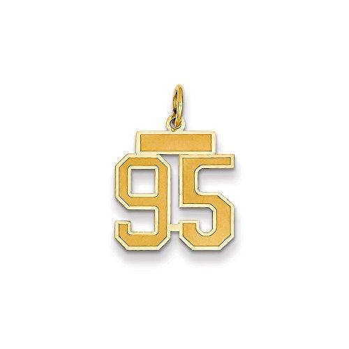 Abalorio pequeño de oro amarillo de 14 quilates con número 95