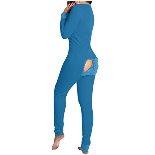 Pijama con Solapa Abotonada Funcional de Color Liso Pijama Abotonado para Mujer Adultos Tallas Grandes para