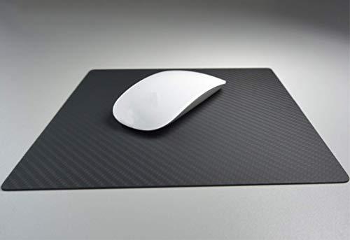 Echt Carbon Mousepad für Notebook/Laptop | für Gamer und Videospiele | groß für PC Spiele | Mauspad | Schwarze Kohlenstofffasern | hochwertiger Komfort | Office | rutschfest | Gaming | Business