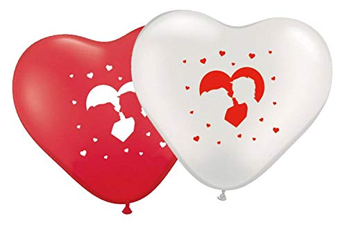 Folat 8X Herz Luftballons farbl. Sortiert Hochzeit Hochzeitspaar Brautpaar, 30 cm
