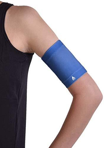 Dia-Band blu, fascia protettiva da braccio per sensore di glucosio e pod | Freestyle Libre, Guardian, Dexcom, Omnipod e altri marchi | Cuciture piatte per un comfort ottimale. (XS (23-27 cm))