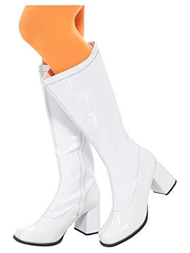 Smiffys 48061S - Damen GoGo Stiefel, 7.6 cm Absatz, Größe: 39.5-40.5, weiß