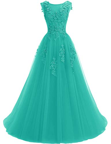 Uther Women's Lace Appliques Prom Dresses A-Line Birdesmaid Dress Tulle Formal Party Gowns