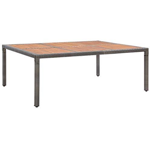 vidaXL Akazienholz Massiv Gartentisch für 10 Personen Garten Esstisch Balkontisch Terrassentisch Gartenmöbel Tisch Grau 200x150x74cm Poly Rattan