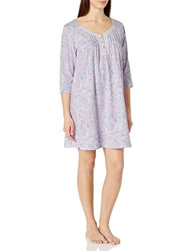 Carole Hochman Women's Short Gown, Purple Paisley, M