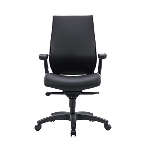 Office Factor Faux Leather Executive Ergonomic Office Chair Flip-up and Adjustable arms Knee Tilt Mechanism PU Anti Scratch Casters 300 Lbs Weight Capacity