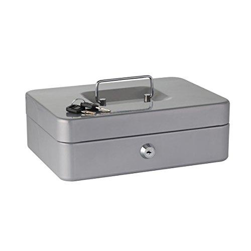 Axentia - Cassetta per contanti in acciaio, con serratura e vassoio per cambio euro rimovibile, 25 cm, colori assortiti, blu o argento, 1 pezzo