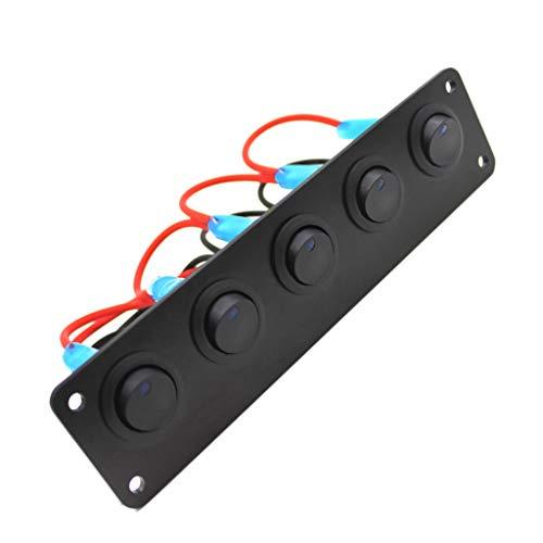 P Prettyia 5 Gang 12V para El Panel de Interruptores Basculantes de Sobrecarga de Los Disyuntores Del Barco Marino Del Coche