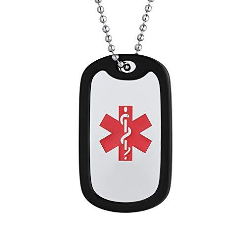 Custom4U Silicona Placa Militar Cadena Bolitas Delgada Collar Personalizado Cruz Roja Esmalte Rojo Alerta Médica Textos Grabados Gratis por Láser Plateado Acero Inoxidable