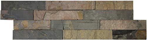 Brickstones, Wandverblender, Mauerverblender Naturstein 15x60 cm, Schiefer braun schwarz mix, 1 Kart. = 0,50 qm, MOES546
