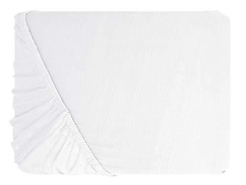 npluseins klassisches Jersey Spannbetttuch – erhältlich in 34 modernen Farben und 6 verschiedenen Größen – 100% Baumwolle, 70 x 140 cm, weiß - 2