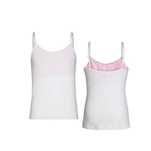 Bleum Camisole - Comfortable Girls Undershirt Tank Top - Ultra-Soft & Seamless Cami Top for Teens & Tweens - Tank Top for Teen Girls with Built-in Shelf Bra & Adjustable Straps (White / 10)