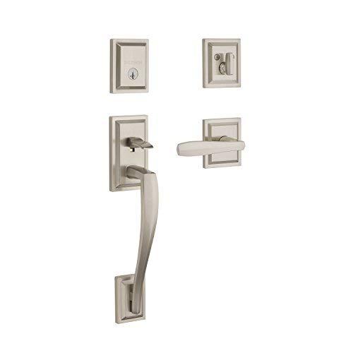 Baldwin Torrey Pines Sectional Single Cylinder Front Door Handleset Featuring SmartKey Security in Satin Nickel, Prestige Series with a Modern Contemporary Slim Door Handleset and Square Lever