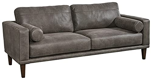 Signature Design by Ashley Arroyo Mid Century Modern Faux Leather Sofa, Dark Gray