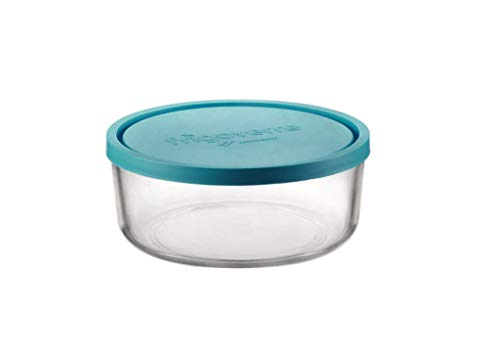 Bormioli Frigoverre Contenitore Tondo con Coperchio, Trasparente/Blu, 15 cm