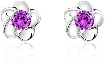 Chapado en Plata Aretes Para Mujeres Niñas Señoras Púrpura Cristal Redondo Circonita Plum Blossom Onefeart