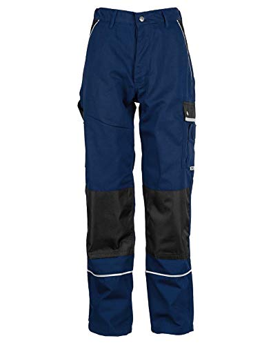 TMG® Lange Arbeitshose für Herren, Bundhose/Cargohose mit Kniepolstertaschen, Navy Dunkelblau 54