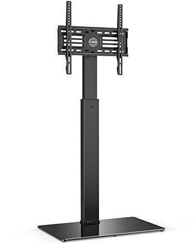 FITUEYES Soporte de Suelo para TV de 27 a 55 Pulgadas hasta 40kg Giratorio 60 Grados Altura Ajustable Soporte de Televisión LED LCD Plasma Curva Plana con Base de Vidrio Templado Máx. VESA 400x400 mm