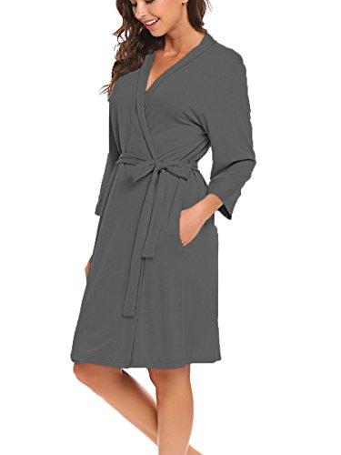 Bluetime Women Robe Soft Kimono Robes Cotton Bathrobe Sleepwear Loungewear Short (S, Dark Gray)