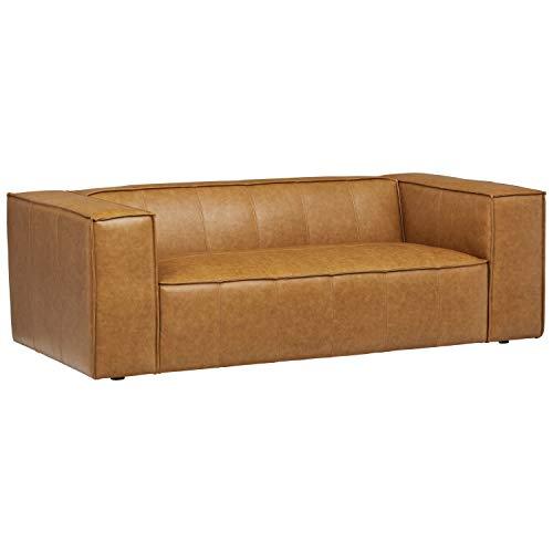 Rivet Thomas Modern Leather Sofa - 101.2 Inch, Caramel