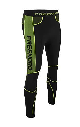 Freenord Powertech Evo Legging de Running Base Layer pour Homme (Noir/Vert, XL)