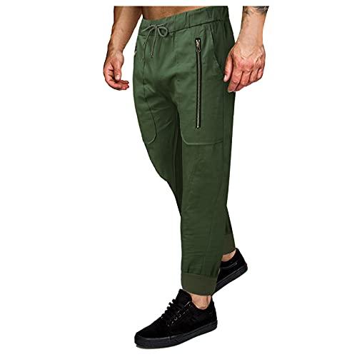 WWWSS Pantalones Casuales y Leggings Multibolsillos con Herramientas de Color Liso para Hombre Deportivos Actividades al Aire Libre para Cycling,Ejercicio,Jogging,Gimnasio