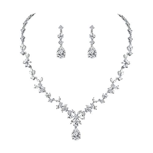 WeimanJewelry Women Cubic Zirconia Marquise Teardrop Bridal Necklace and Earring Jewelry Set for Wedding (Silver)