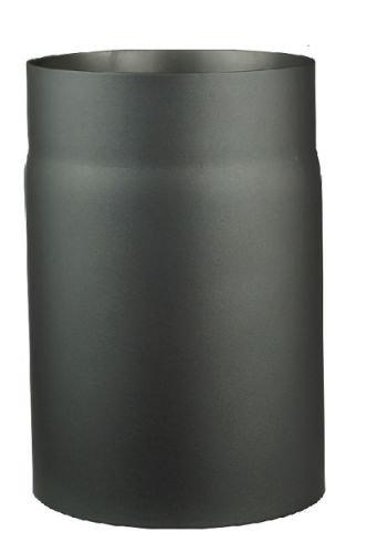 Ofenrohr aus 2 mm starken Stahl (Rauchrohr) in 120 mm Durchmesser, für Kaminöfen und Feuerstellen, Senotherm, dunkelgrau, 250 mm lang