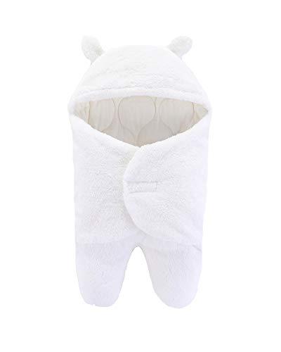 Baby Wickeldecke mit Kapuze, Swaddle Neugeborene Schlafsack Separate BeinePucktuch Herbst Winter Baby Mädchen Junge Pucksack Weiß 3-6 Monate