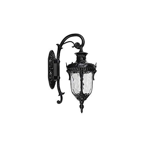 GYPPG Linterna de Pared Aplique de Pared al Aire Libre Semilla Transparente Vidrio Aluminio Cubierta Decorativa Terraza Exterior Balcón Porche Pilar Lámpara de luz de Pared (Color: Negro, Tamaño: