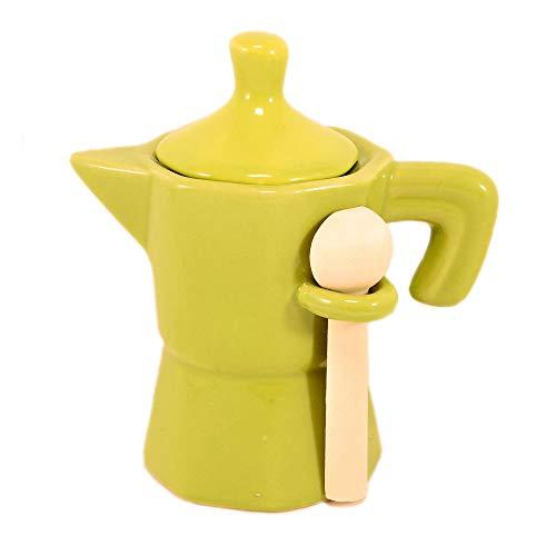 lefantasiedicasa.com Zuccheriera a Forma di Moka caffettiera Verde Barattolo in Ceramica con cucchiaino in Legno.
