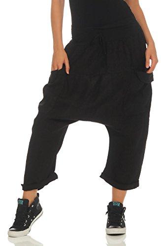 Malito Donna Harem Pantaloni di Lino Bloomers Capri Pantaloni Plain Colors 6285 (Nero)
