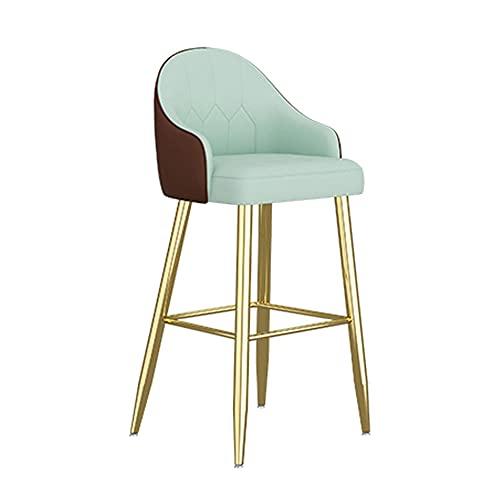 Sgabello da bar ergonomico moderno in tessuto imbottito con schienale e gambe in metallo, sgabelli alti per bar, cucina e casa, verde 65 cm