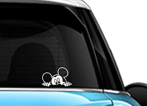 Mickey Mouse Peeking White SCI-FI/Comics/Games Automotive Decal/Bumper Sticker