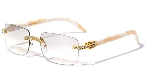 V.W.E. Men Rectangular Frame Clear Lens Designer Rimless Eyeglasses Rhinestones Glasses (Beige/White)