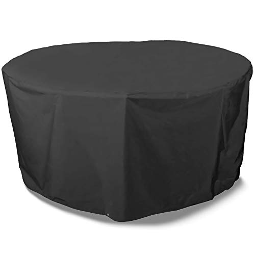Transplant Round Garden Table Cover Waterproof - Outdoor Garden Furniture Covers, 420D Rattan Furniture Covers Anti UV Oxford Fabric for Patio Furniture Set Covers(Ø227x100cm)