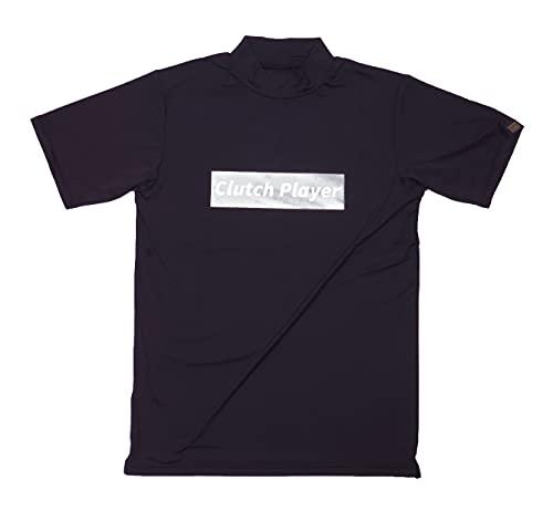 クラッチプレーヤー ゴルフウエア メンズ 半袖 モックネック クール シャツ 春夏 UVカット 接触冷感 Tシャツ ハイネック (ブラック・フロントロゴ, XL)