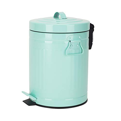 Bathroom Trash Can with Lid, Small Mint Green Waste Basket for Bathroom Bedroom Home, Retro Step Garbage Can with Soft Close, Vintage Office Trash Can, 5 Liter/ 1.3 Gallon, Glossy Mint Green Turquoise